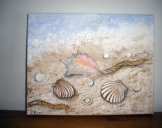 Original Handpainted Beach Scene with Conch Shell and Seashells 8 x 10 stretch canvas