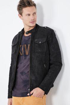 Venda Pepe Jeans / 28240 / Homem / Casacos, sobretudos e blusões / Casaco de couro de cabra Preto