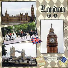 London - Scrapbook.com Lovely clean page to showcase photos. Stamps are a nice touch for holiday page.
