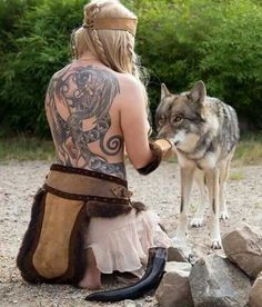Celtic warrior woman with wolf!