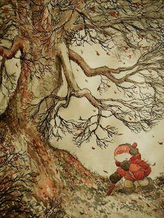 Paulus de Boskabouter in een herfstig weertje op wandel. Zeer sfeervolle tekening.