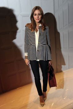 OP in striped jacket with leggins