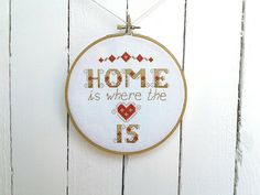 "This ""home is where the heart is"" cross stitch pattern was one of my first designs after I'd returned home from a spell of travelling overseas. It would make a wonderful gift for a returning friend or a happy couple just starting out on their journey of marriage. Stitched in a rustic colour scheme using only three colours it is easy to replace colours according to your decor.  Being one of three designs it can be hung on its own if space is a premium or as part of the set for a striking…"