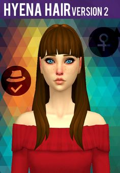 Hyena Hair V2 by SimductionNew hair for females. Comes in 18 colours, hat compatible. Feel free to recolour! TOU: Don't claim as your own, don't reupload and if you do recolors do not include the...
