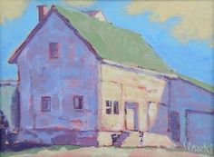 "Original acrylic by artist Stephen Wysocki, ""Remnant,"" 12""x16"". Building near an old railroad yard"