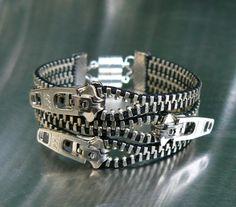 Nickel Uno Dos Tres fermeture éclair Bracelet - Bracelet manchette - bijoux gothiques