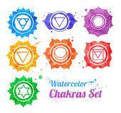 Free art print of Chakra symbols. Hand drawn watercolor collection of chakra symbols with paint splashes. 7 Chakras, Reiki, Chakra Symbole, Chakra Tattoo, Symbol Drawing, Free Art Prints, Hand Logo, Paint Splash, Chakra Meditation