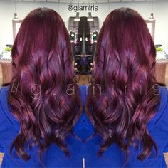 Love that darker tones REFLECT light giving the hair soooo much shine! this is our session from layers and layers of black hair color. Red Violet Hair, Burgundy Hair, Good Hair Day, Great Hair, Beauty Tips For Hair, Hair Beauty, Frosted Hair, Down Hairstyles, Gorgeous Hair