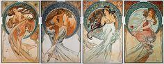 Alphonse Mucha - Le Arti: Danza, Poesia, Musica e Pittura