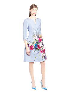 Oscar de la Renta - Flower Bouquet Print Silk Faille Dress