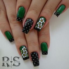 elegant autumn nail designs have to try blackish green floral stiletto nails inspo 13 ~ thereds.me : elegant autumn nail designs have to try blackish green floral stiletto nails inspo 13 ~ thereds. Cute Nail Art Designs, Green Nail Designs, Nail Designs Spring, Nail Polish Designs, Nails Design, Green Nail Art, Green Nails, Spring Nail Art, Spring Nails