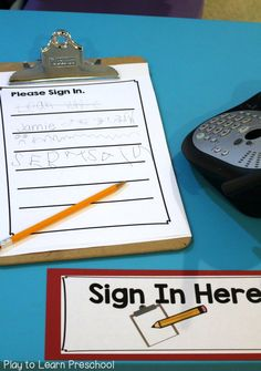 Sign In Sheet Hospital Dramatic Play