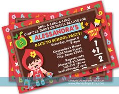 Ding-a-ling! #Back #to #School #Party #Invitation Printable Digital by HoneyBops, $16.95 #birthday #invite #invitation #custom #printable #announcement #party #DIY #event #digital
