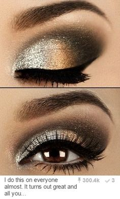 Gold Glam Cat Smokey Eyes using URBAN DECAY HEAVY METAL GLITTER EYELINER