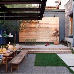 Backyard design ideas for your home. Landscaping, decks, patios, and more. Build the perfect outdoor living space Outdoor Areas, Outdoor Rooms, Outdoor Dining, Outdoor Decor, Dining Area, Outdoor Furniture, Outdoor Benches, Lounge Furniture, Wicker Furniture