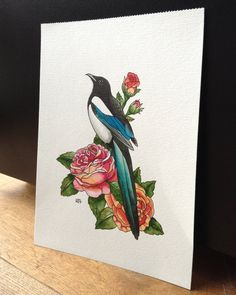Original tattoo design painting Magpie with by HeidiJansenArtwork