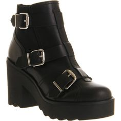 Office Brazen Buckle (265 DKK) ❤ liked on Polyvore featuring shoes, boots, ankle booties, jesy, ankle boots, black leather, women, black chunky heel booties, leather booties and black ankle boots