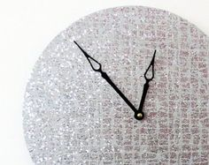 Unique Wall Clock Silver Glitter Wall Clock Living by Shannybeebo