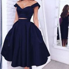 Elegant Off-the-shoulder Two-piece Tea-Length Navy Homecoming Dress