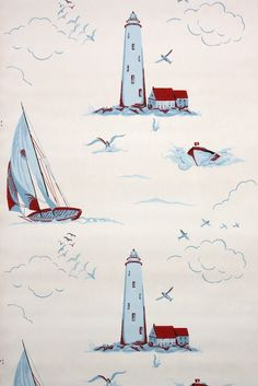 sailboats and lighthouses vintage wallpaper