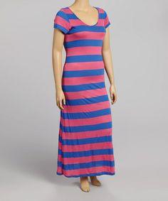 Look at this #zulilyfind! Pink & Blue Stripe Maxi Dress - Plus by Poliana Plus #zulilyfinds