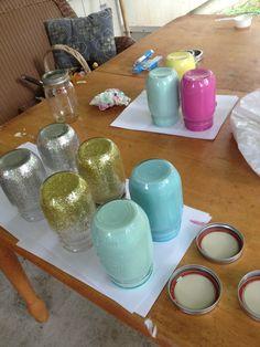 Glitter and acrylic mason jars