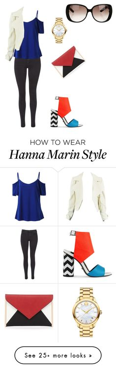 """""""I made Hanna Marin from the Pretty Little Liarss  #HannaMarin #PLL #İdolOutfitsFromMina"""" by minatosun on Polyvore featuring Maison Scotch, Red Herring, Kat Maconie, Movado and Gucci"""