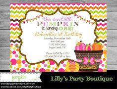 Girl Fall Pumpkin Birthday Invitation DIY by LillysPartyBoutique, $14.00
