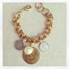 GDO Monogram initial charm bracelet by girlsdayout on Etsy, $42.00