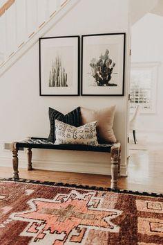 **LOVE THE BENCH BY THE FRONT DOOR*** Office Ideas, Workspace, Desk Ideas, Bathroom, Kitchen, winter decor ideas