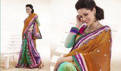 Divine Bluish Purple, Can Blue & Orange Embroidered Saree - StylishKart