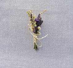 Summer Wedding Lavender Larkspur and Wheat Boutonniere or Corsage