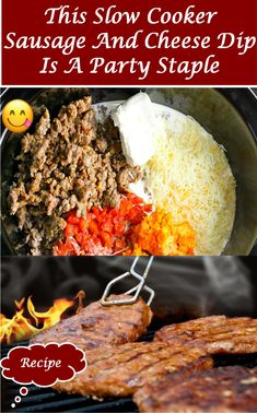 #sausage #cheese #dip #party #food #delicious #recipes Slow Cooker Recipes, Cooking Recipes, Delicious Recipes, Yummy Food, Breakfast Platter, Party Dishes, Beautiful Hair Color, Cheese Party, Food Items