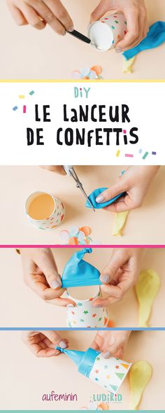 Les enfants vont adorer jouer avec ce lanceur de confettis l… 1 … Start! The children will love to play with this launcher of confetti l … – Games For Kids, Diy For Kids, Activities For Kids, Crafts For Kids, Party Fiesta, Festa Party, Diy Craft Projects, Fun Crafts, Diy And Crafts