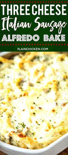 #pastacasserole #freezermeal #mozzarella #casserole #makeahead #macaroni #parmesan #al... Italian Sausage Pasta, Italian Sausage Recipes, Mozzarella, Bread, Cheese, Baking, Food, Brot, Bakken