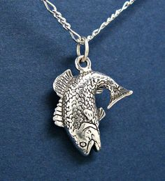 Sterling Bass Fish Fishing Charm Pendant no. by GrassShackTrading, $20.65