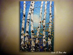 Birch Forest Painting 36 Blue Gold Painting Palette