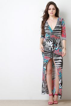 Abstract Printed Deep V Wrap Maxi Dress