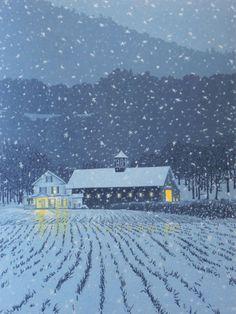 First Snow, linocut by William H. Hays