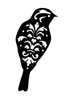 "11.7/16.5"" Vintage bird design 3 stencil and template. A3."