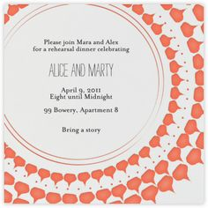 Spec in Capri - Coral - Paperless Post: invitation, rehearsal dinner, bridal shower, wedding, engagement party, brunch, pattern, square card