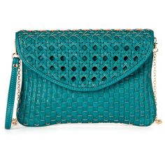 Sole Societyaverie Mixed Woven Clutch ($45) ❤ liked on Polyvore featuring bags, handbags, clutches, bolsas, purses, accessories, teal, teal handbag, blue clutches and chain handle handbags