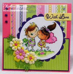 "cute card and image -- Stampendous stamp-kissin""Kiddos  Colored with Spectrum Noir Markers."