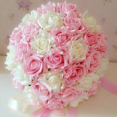 A Bouquet of 24 PE Simulation Roses Wedding Bouquet Wedding Bride Holding Flowers,Multicolors – USD $ 19.99