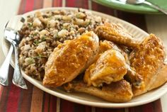Baked Maple Chicken with Wild Rice and Bartlett Pear Pilaf // The cold winter months are meant for comfort food! #recipe