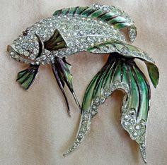 Boucher KOI Brooch Green Blue Enamel Crystal Rhinestones Vintage