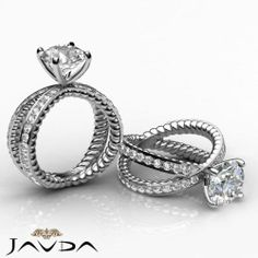 Round Diamond Antique Rope Engagement Pave Ring GIA F Color SI1 Platinum 2.02 ct