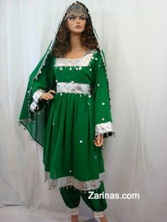 Waheeda Layla and Majnun Afghan Dress.  Waheeda -  This ritzy three piece Afghan dress is appropriate for all types of Afghan weddings, parties and any other special occasions. It comes with matching color pants and matching color chador (head scarf). See similar dress in Waheed Soroor's music video. Please Note: the Moatika is sold separately.  http://www.zarinas.com/layla-majnun.shtml