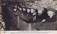 Miners including Tommy Shotton being tranported in tubs to the working coal seams of Greenside Colliery in County Durham - in or about 1938.