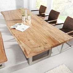 Esstisch Baumstamm Tisch MAMMUT Akazie Massivholz Holztisch Esszimmertisch Holz